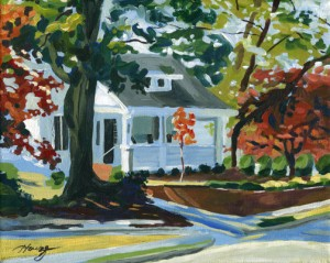 Acrylic Painting of a small white house in Clinton, NC