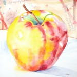 """A Delightful Honeycrisp"" 36"" x 36"" watercolor on paper"