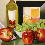 Apples, Grapes and Wine Still Life