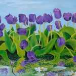 """Purple Tulips by the Lily Pond"" 24"" x 48"" acrylic on board"