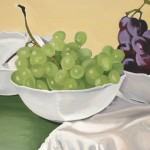 White bowls and grapes