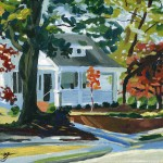 Painting of little white house in Clinton, NC