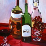 Painting of wine bottles