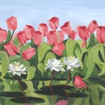 Painting of Pink Tulips by the Lily Pond