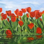 Painting of Red Tulips by the Lily Pond