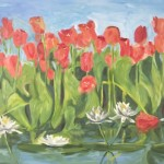 Painting of Soft Tulips and Lillies