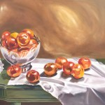 Painting of tangerines on green table