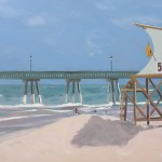 Painting of Johnny Mercer's Pier at Wrightsville Beach