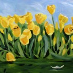 Painting of Yellow Tulips by the Lily Pond