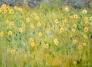 Acrylic painting of yellow flowers in a field